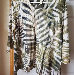 Two piece print top and vest